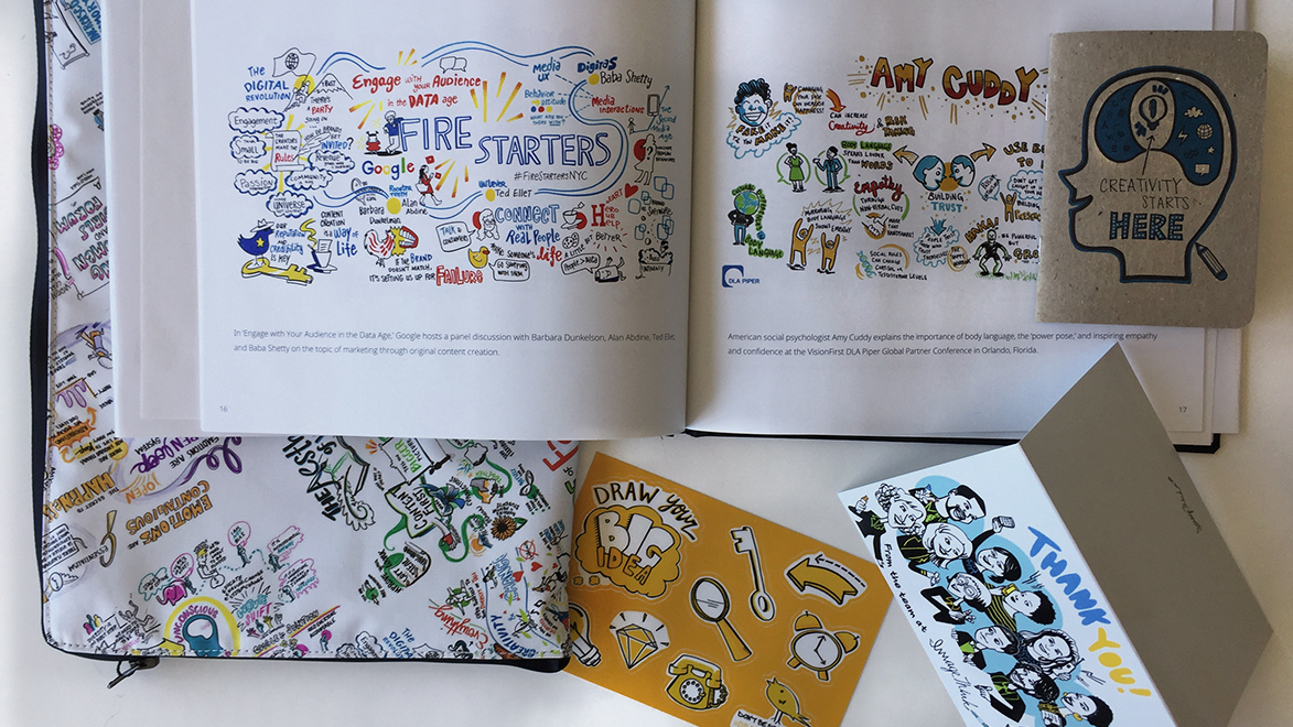 ImageThink offers solutions for you to create enduring assets after your event ends. Pictured here are some books, cards, stickers, and cases made from ImageThink's prints.