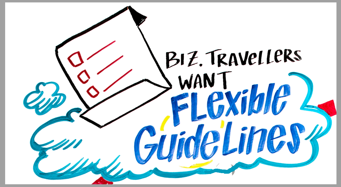 ImageThink captured business traveler trends at Amex's 2016 GBTA trade show booth, including the need for flexible guidelines.