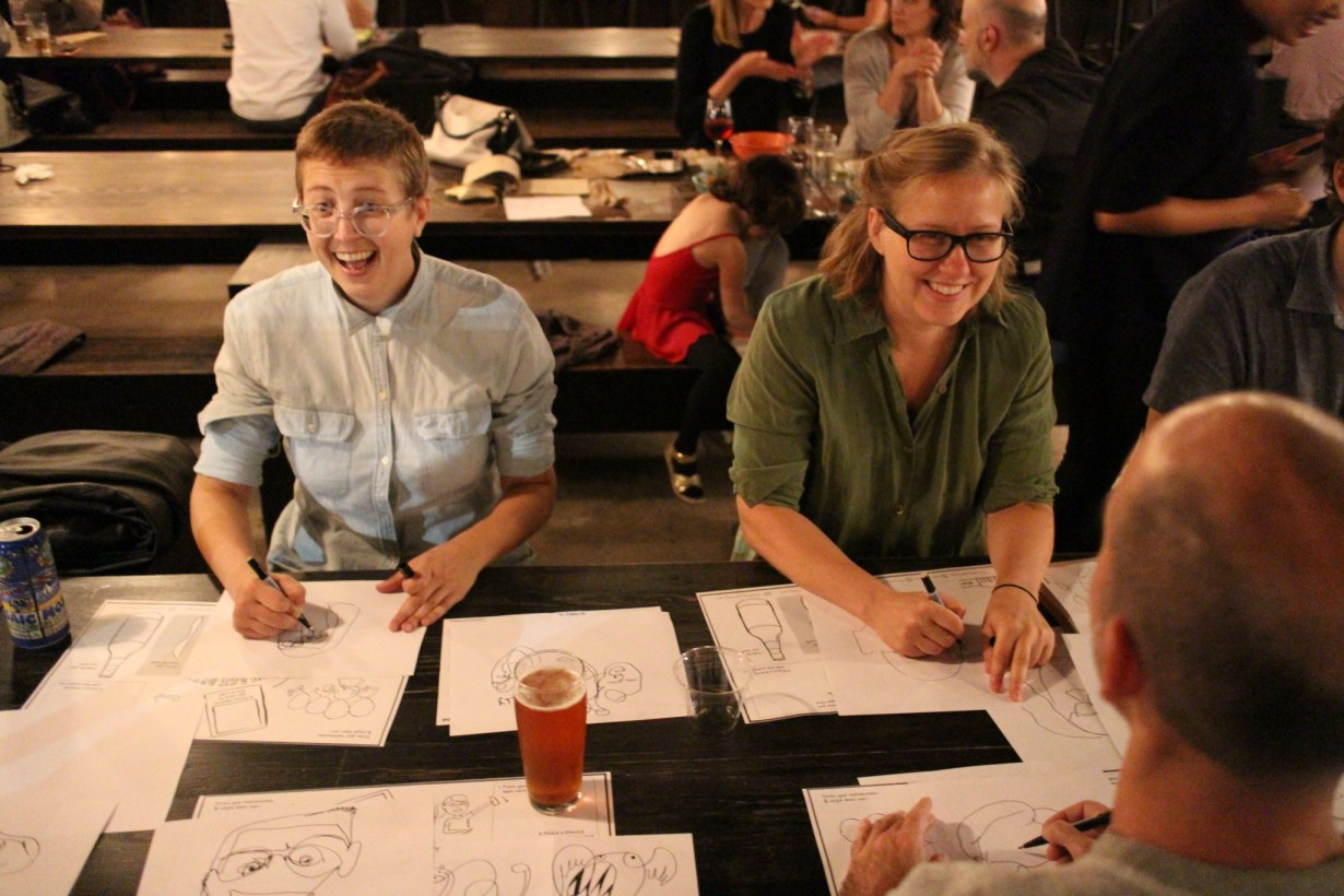People laughing at the first imagethink drink and draw.