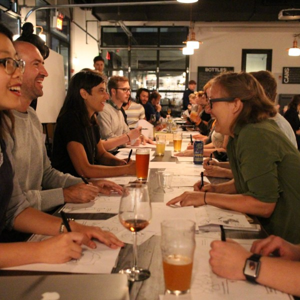 People came from all over new york city for the first ImageThink drink and draw at Bergn, in Brooklyn. The graphic recording firm's team led drawing games that sparked creativity and conversation.