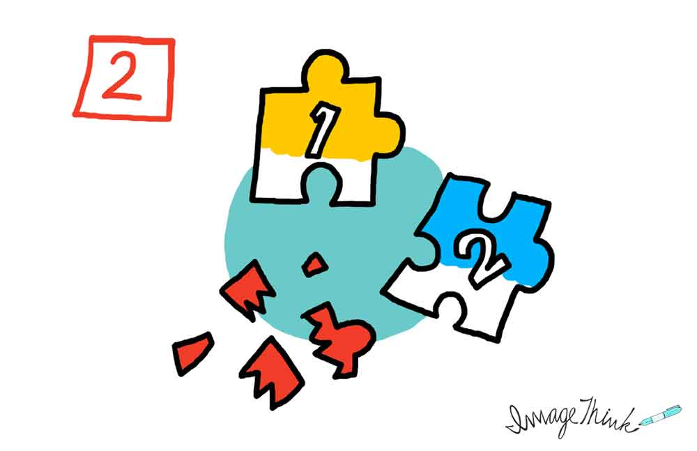 """7 Opportunities to Make Your Brainstorming Meeting a Success"" by ImageThink graphic recording. #2 missing piece of the puzzle - illustration of 3 puzzle pieces, one is broken."
