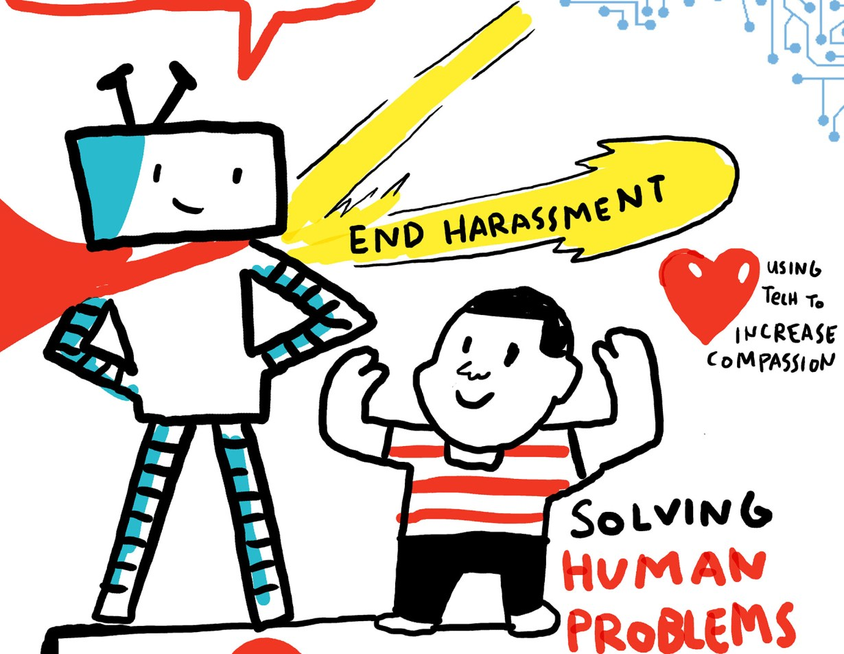 hack harassment digital graphic recording imagethink intel ai day tech conference