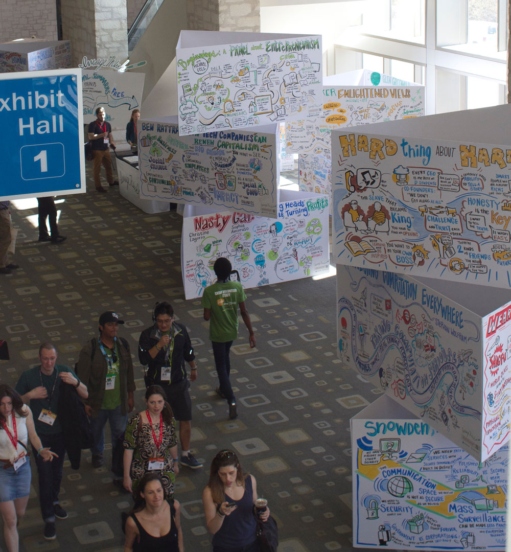 ImageThink graphic recording towers at SxSW conference.