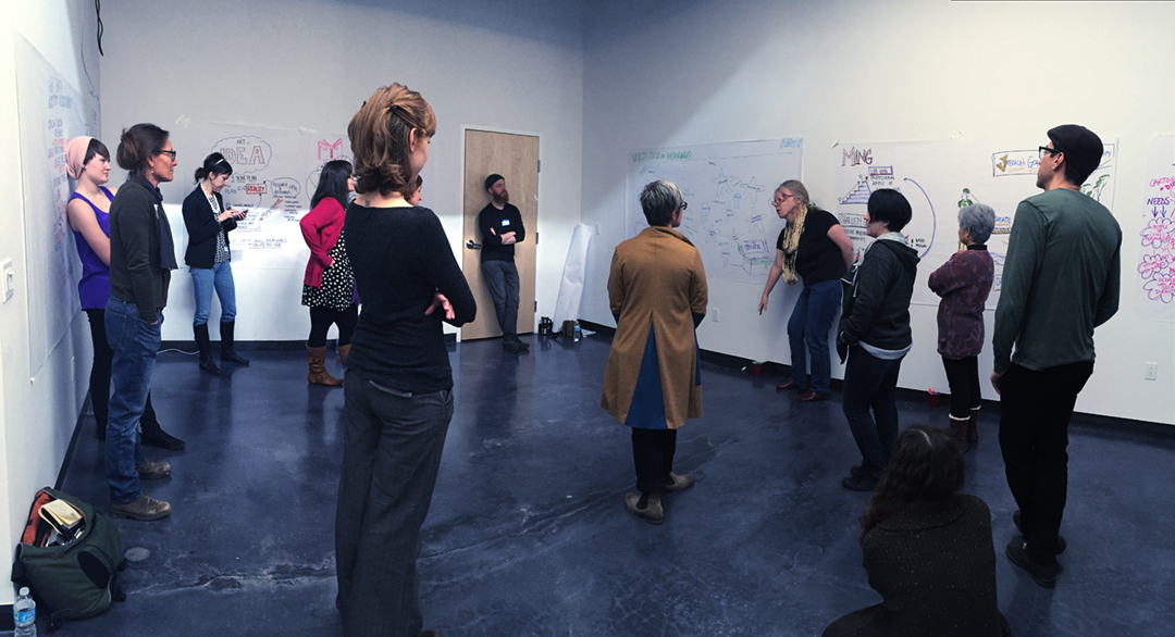 Deep listening training at a graphic recording workshop.