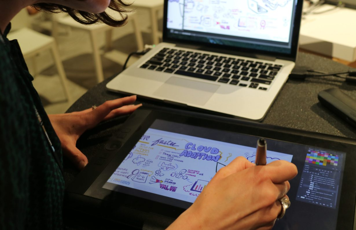 ImageThink graphic recorder uses digital technology to scribe a session online.