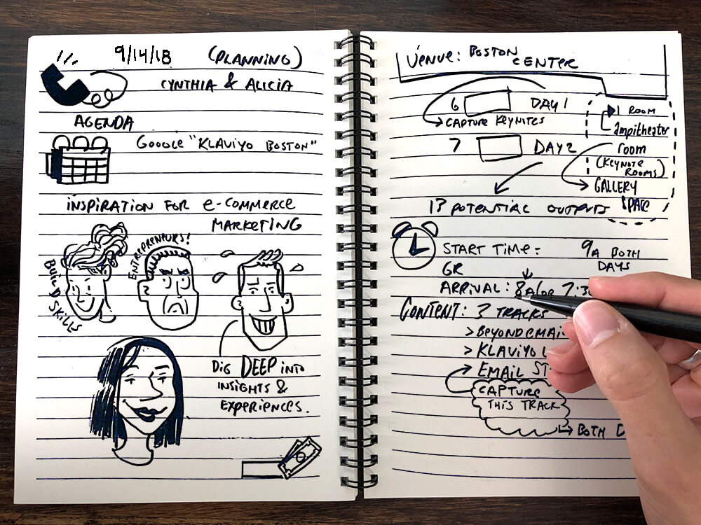 an imagethink graphic recorder takes sketchnotes during a planning call with a client in a small notebook