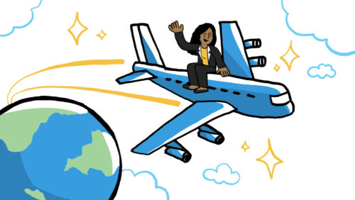 a woman business traveler on a plane drawn by imagethink graphic recording