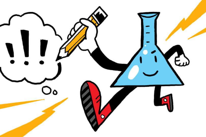 an infographic of a test tube illustrating the intersection of art and science in graphic recording