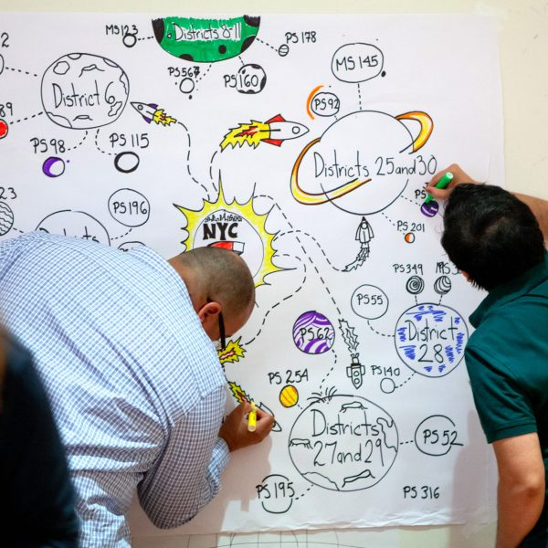 two team members creating visual notes