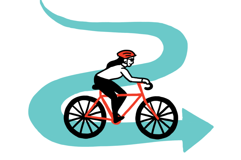 Illustration of girl riding bicycle on winding road with arrow at the end