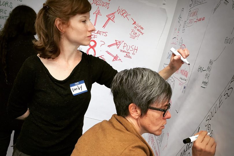 ImageThink workshop participants practicing whiteboarding skills and creating icons and visual notes.