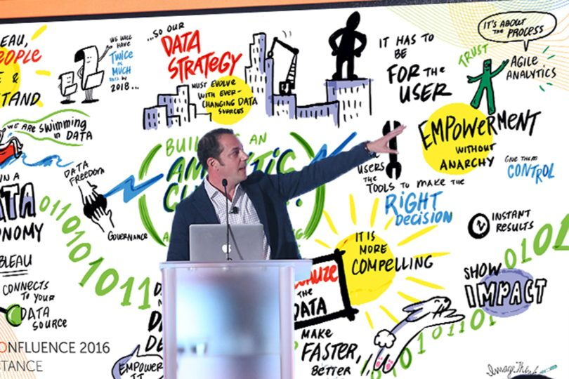 Presenter and meeting facilitator using ImageThink illustrated digital graphic recording materials to support his point.