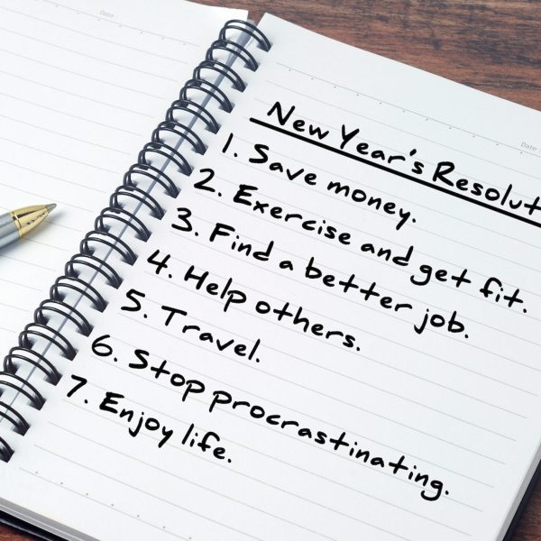 New Year's Resolution List on personal notepad.
