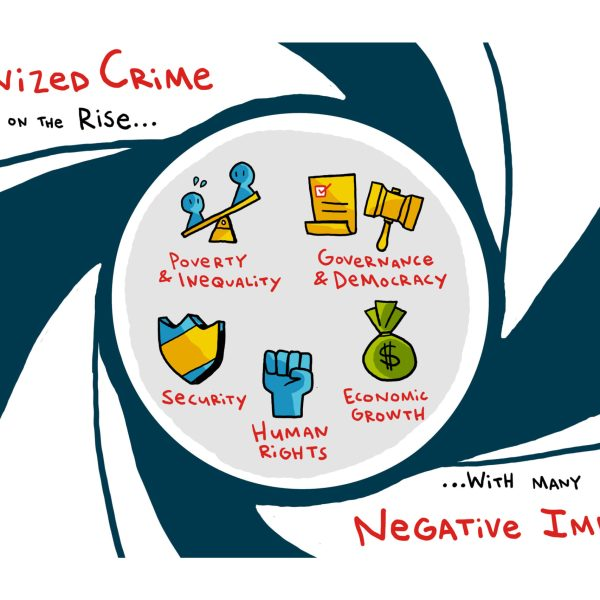 Image of one of the several slides illustrated by ImageThink to support Global Initiative Against Transnational Organized Crime's growth message, which was later animated into a 60 second video.