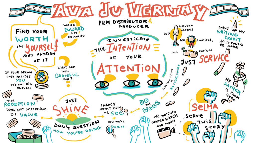 Illustrated Infographic depicting the contents of a talk by Film Director, Producer, and Distributor Ava Duvernay