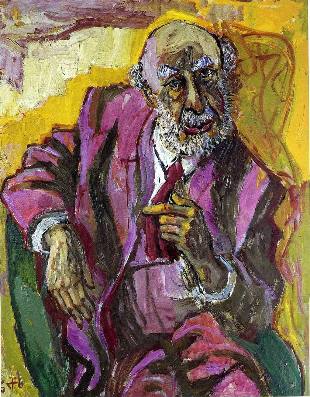 Fritz Perls as painted by Otto Dix in 1966. Oil on canvas.