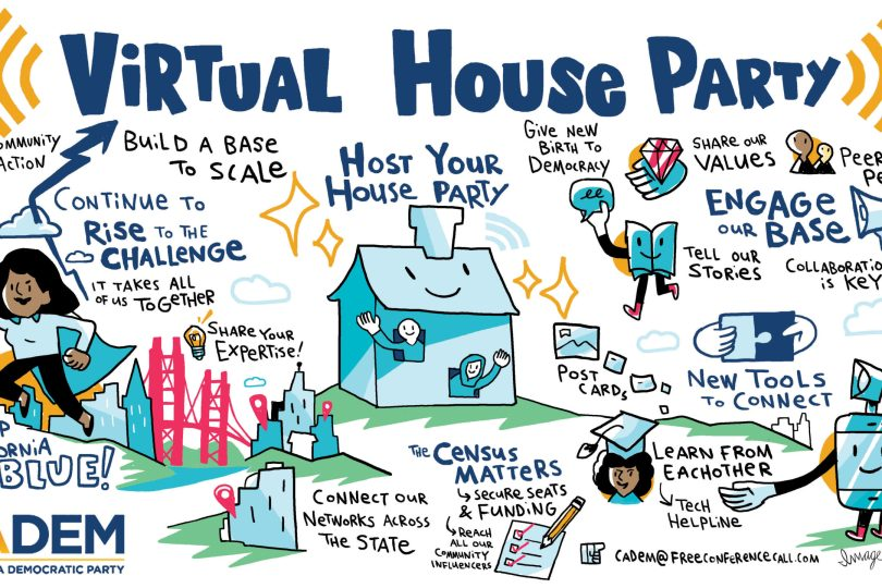 example of graphic recording for a virtually facilitated California Democrats meeting.