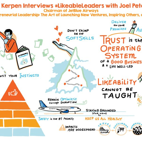 #likeableleaders live graphic recording with JetBlue chairman Joel Petersen and Likeable Media Founder Dave Kerpen