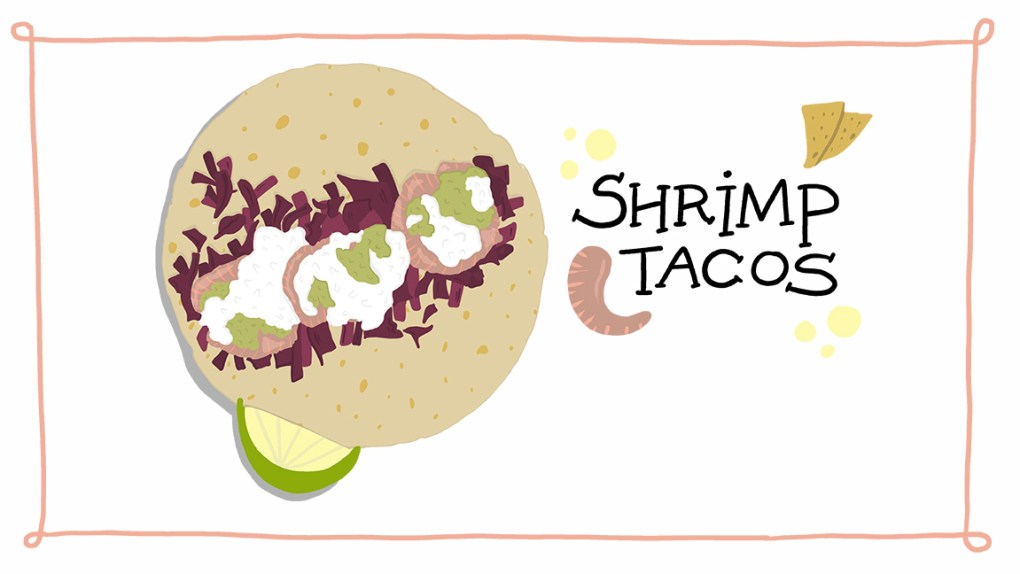 ImageThink's recipe for shrimp tacos with slaw and crema from sheltering in place.