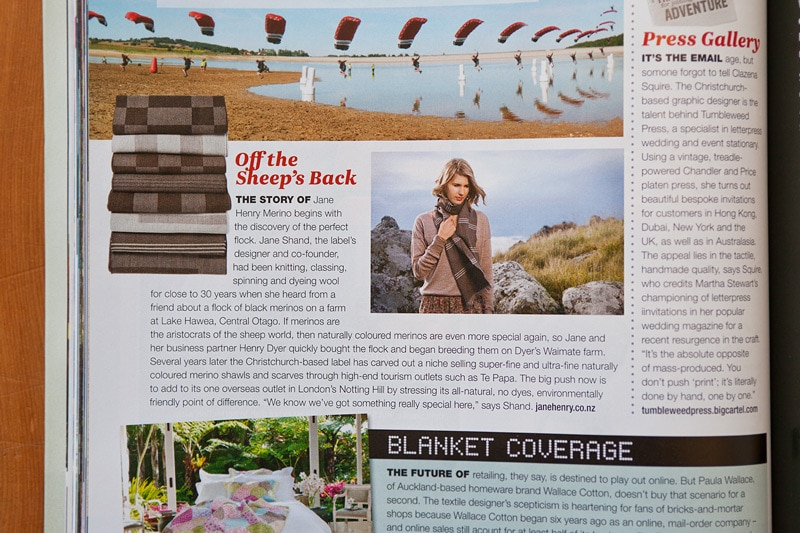 Image Workshop photos for Jane Henry Merino, featured in Air New Zealand's 'Kia Ora' inflight magazine