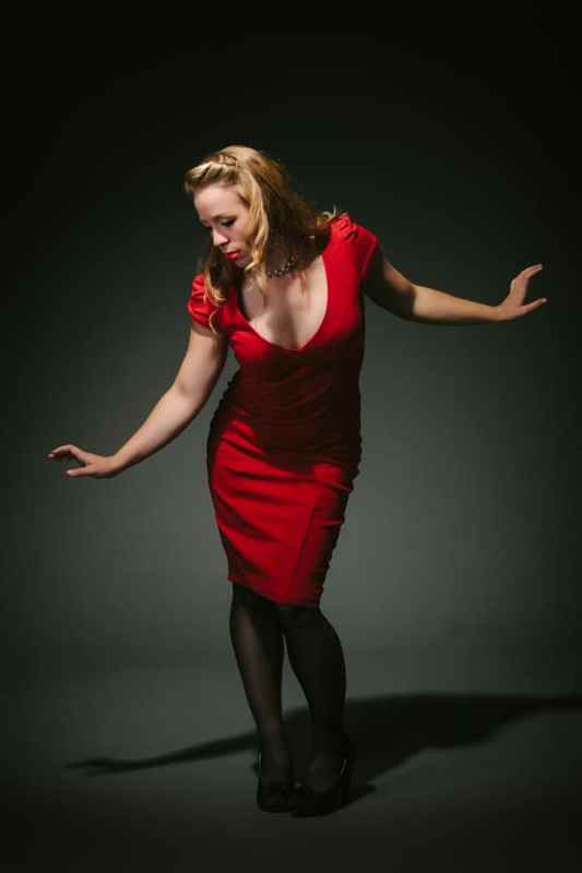 Red dress - Dance burlesque cabaret promo photography by Sharon Blance Melbourne photographer - Image Workshop Photography
