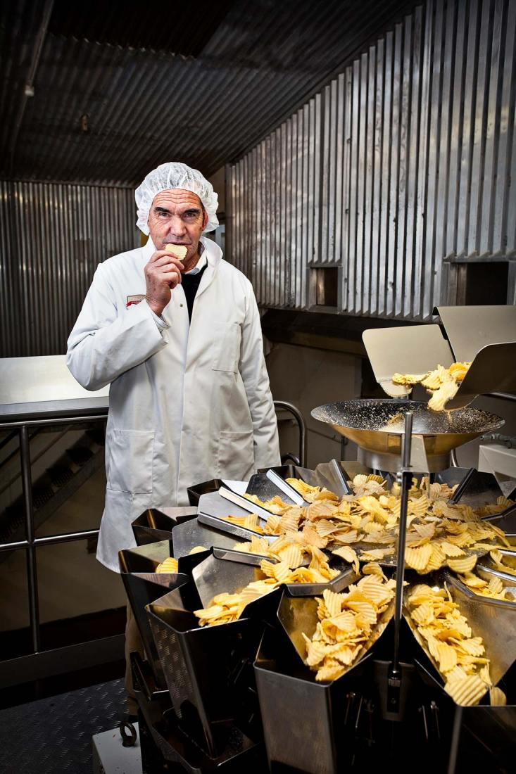 Editorial character portrait shot on location of Ray Bowan, the Potato Chip king of New Zealand.