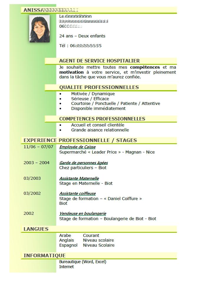 modele cv lettre de cv fonction publique ash
