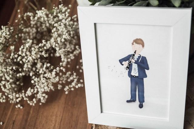 Recordatorios comunión niño ilustración personalizada