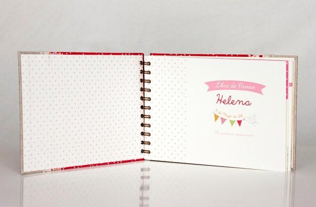 libro de firmas comunión niña rosa flores motas ilustrado ilustración donostia gipuzkoa