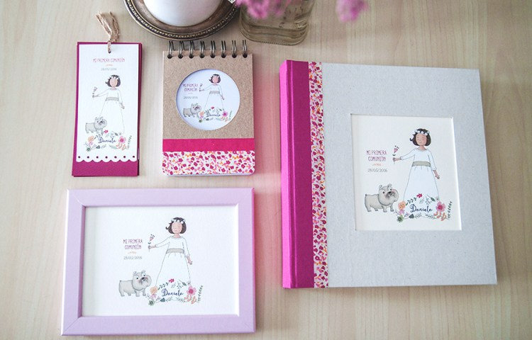 Comunión personalizada, marcapáginas, ilustración personalizada, álbum, libreta