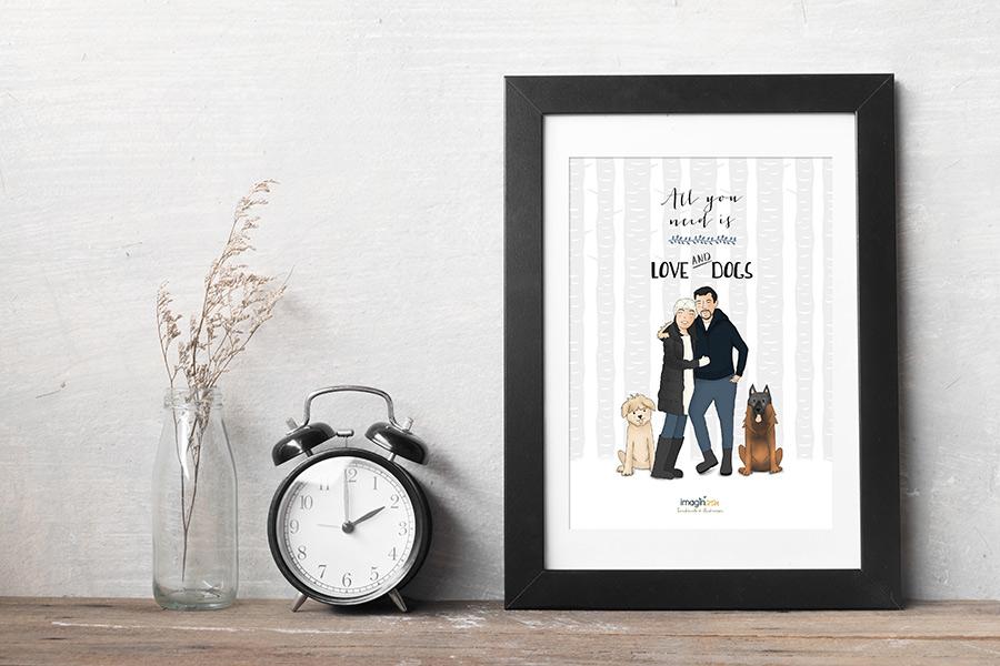 ilustraciones y dibujos personalizados familias