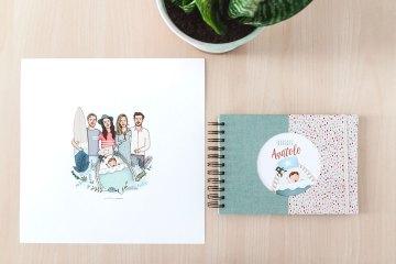 Ilustración personalizada y libro de nacimiento
