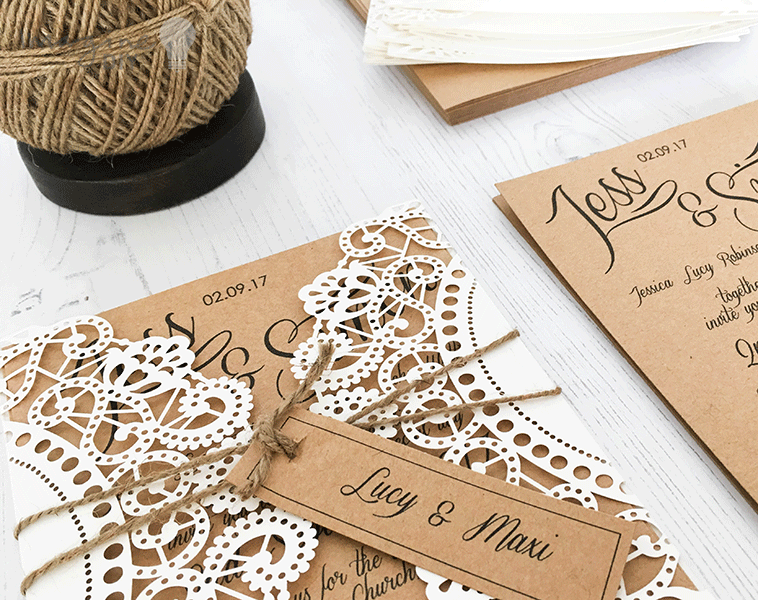 Making Wedding Invites Yourself: How To Make...Rustic Kraft And Laser Cut Invitation With