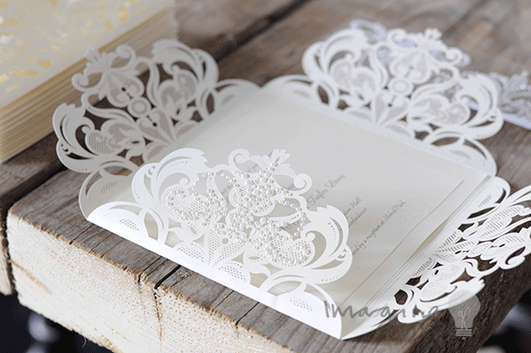 Elegant DIY laser cut wedding invitation