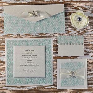 DIY aquamarine wedding stationery