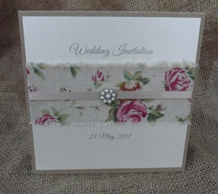 shabby chic style invitation made by Anna Carter of Cardiff Invitations