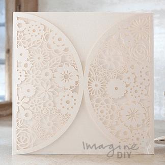 Rita Laser Cut Range - Ivory. Ivory lasercut wedding invitations and save the date cards.