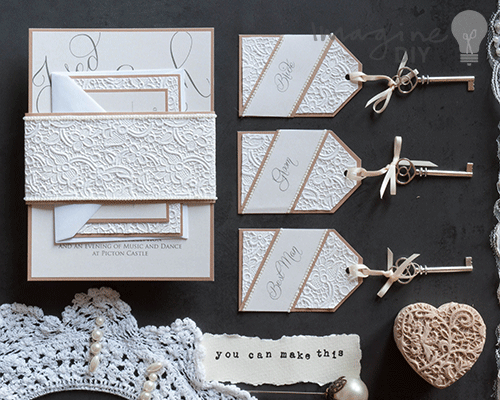 DIY wedding idea. Make your own vintage style wedding stationery with lace and pearls.
