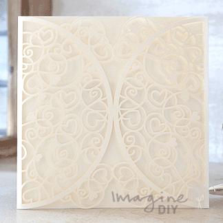 Venus Laser Cut Range - Cream. Cream laser cut wedding invitation.