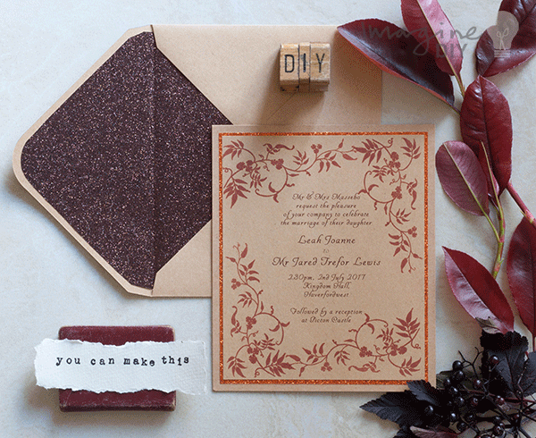 autumn diy wedding invitation