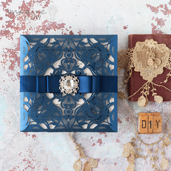 Make Your Own Wedding Invites Kits: Glamorous Laser Cut Invitation With Sparkle