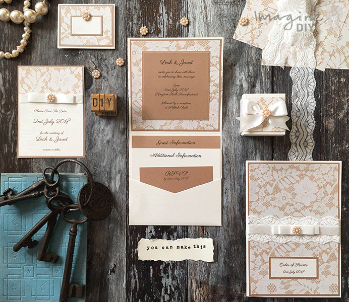 DIY wedding Champagne Lace Wedding Stationery. How to make your own vintage style wedding stationery. DIY wedding stationery supplies