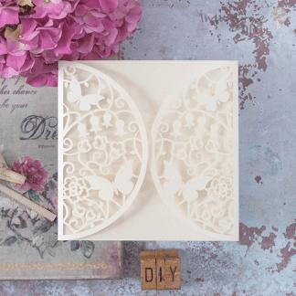 Meadow Laser Cut Range - Cream, lasercut wedding invitation in cream.