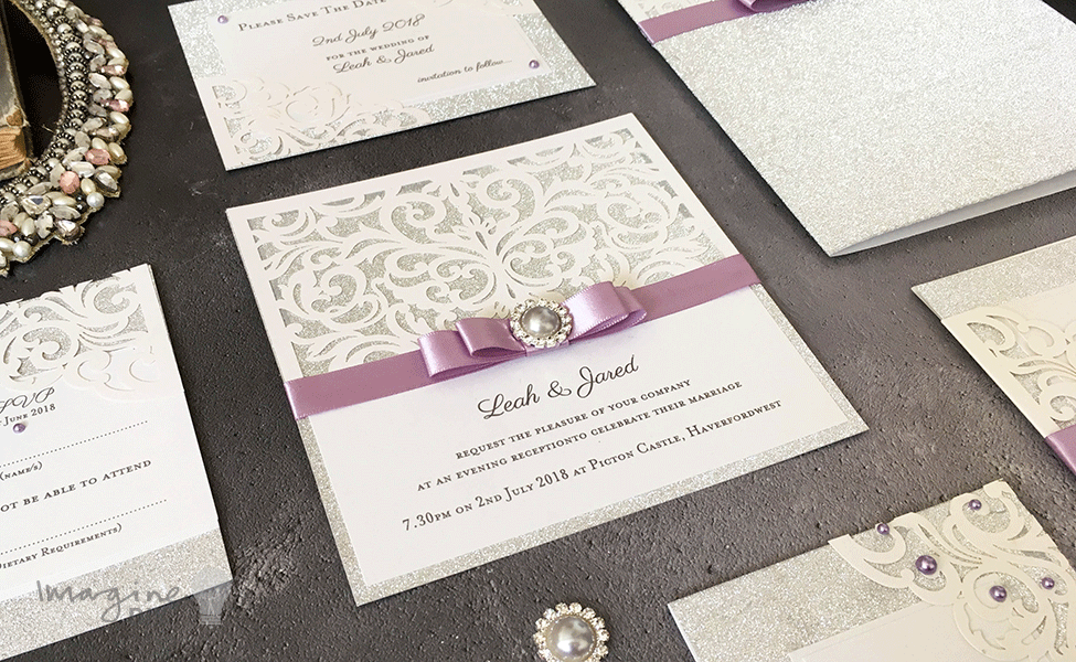 DIY wedding stationery. Silver glitter. How to make your own Sparkling Laser Cut Wedding Stationery