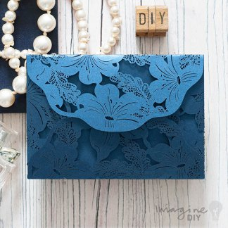 Lily laser cut invitation in pearlised navy. Blank laser cut invitation. DIY wedding stationery supplies