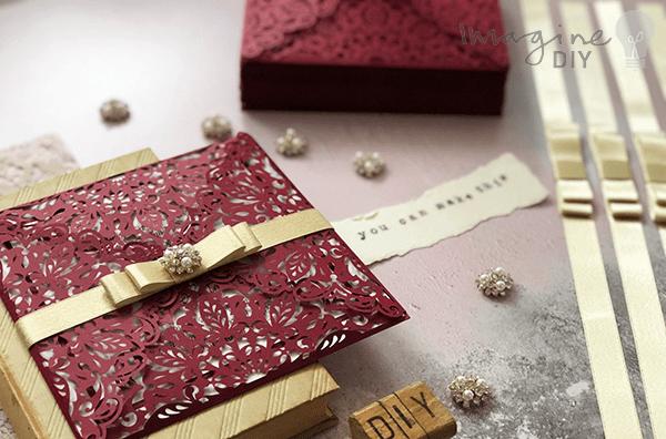 Beautiful DIY wedding invitations to make yourself. Gold and Burgundy DIY wedding stationery
