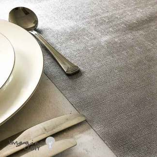silver metalino table runner by vivant. Metallic silver table runner. Wedding venue styling. Venue styling.