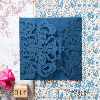 Rococo Navy laser cut invitation. blank laser cut invitations in navy. Luxury DIY wedding stationery supplies