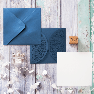 Blank laser cut invitation with insert and envelope. DIY wedding stationery supplies UK.
