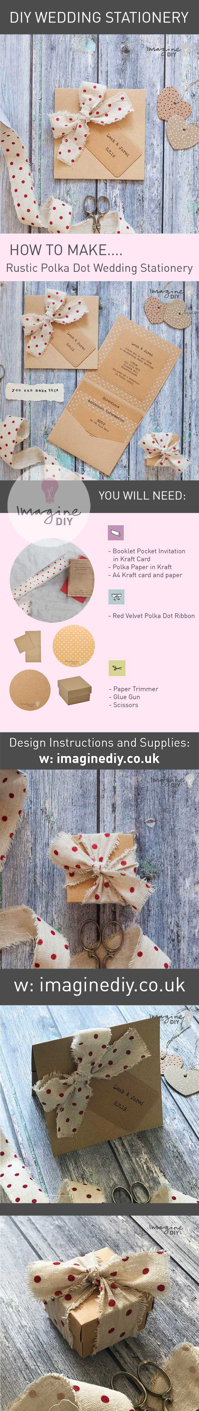 How to make your own rustic wedding stationery. DIY wedding stationery supplies. Polka dot wedding stationery with kraft card. Pocket fold invitations.